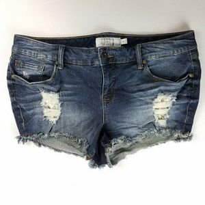 Torrid Shorts Destruction Lace Underlay Dark Sz 16